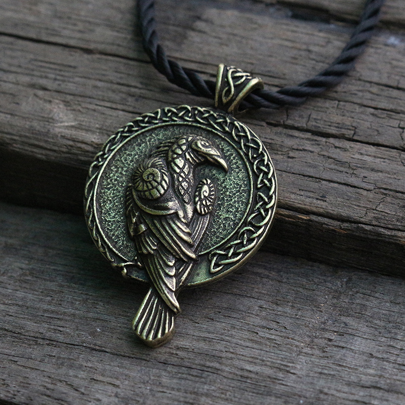 lanseis 1pcs norse talisman viking raven pendant black bird celt crow necklace men pendant jewelry
