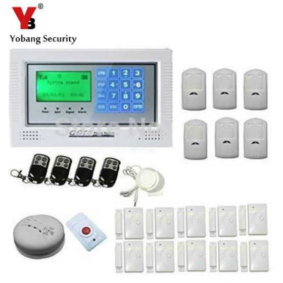 YobangSecurity Security Alarm System 433Mhz GSM SMS Wireless Home Burglar alarm system for Complete Home and Business Security wireless smoke fire detector for wireless for touch keypad panel wifi gsm home security burglar voice alarm system
