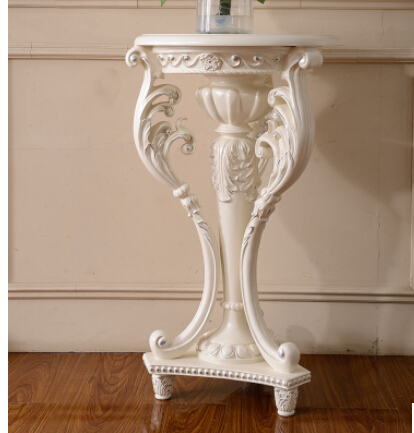 European Wood Style. French Carve Patterns Or Designs On Woodwork Shelf.  Flower Stand
