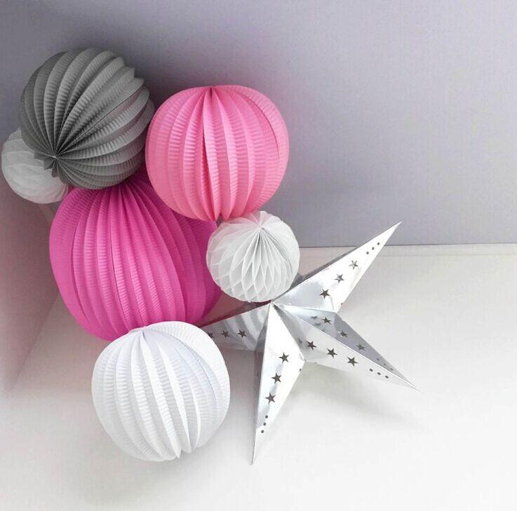 (Różowy, Szary, Biały) Zestaw do dekoracji stron Plisowane papierowe latarnie, Gwiazdy Honeycomb Bale Prysznice ślubne Urodziny Wiszące dekoracje