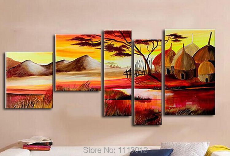 High Quality Tribal Tree Oil Painting On Canvas 5 pcs Set Home Abstract Wall Art Decoration Modern Picture For Living Room Sale