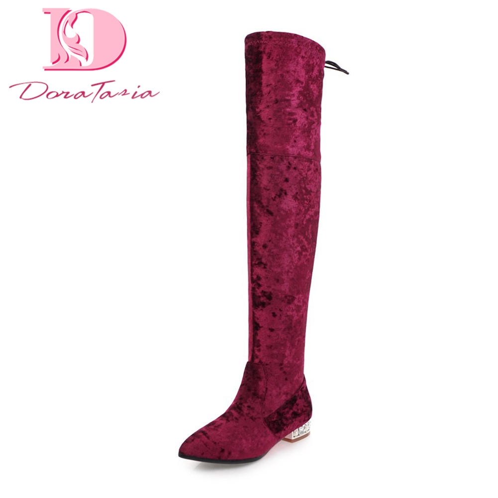DoraTasia 2018 Large Sizes 32-48 Square Heels Sexy Boots Woman Shoes Hot Sale Elegant Add Fur Warm Winter Boots Shoes Woman karinluna 2018 plus size 30 50 pointed toe square heels add fur warm winter boots woman shoes woman ankle boots female