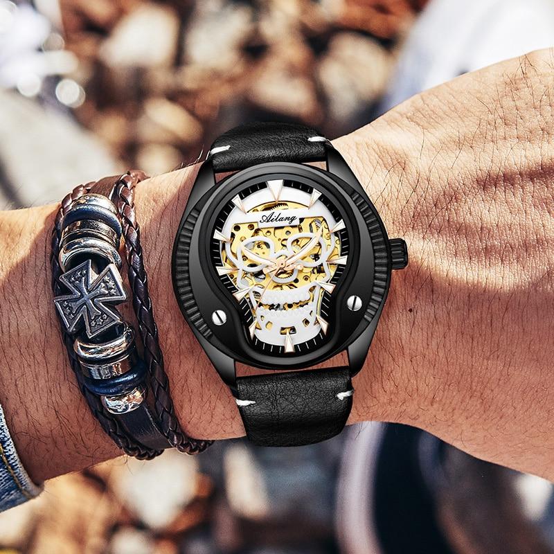 Gold plated skull luminous hand watch men mechanism automatic wrist watch auto light hollow skeleton watch