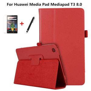 """Case For Huawei Media Pad Mediapad T3 8 KOB-L09 KOB-W09 8.0"""" Tablet Cases Stand 2-Fold Litchi PU Leather Smart Cover+film+pen(China)"""