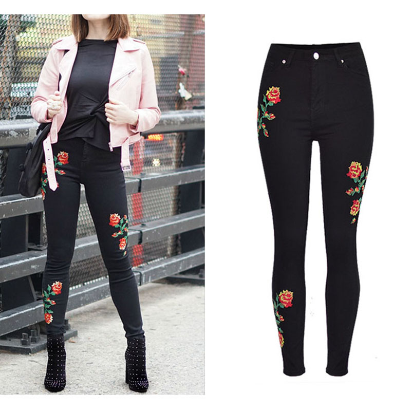 Hot Sale Fashion Jeans Women Rose Embroidery Denim Pants Trousers High Waist Slim Stretch Cross Stitch Jeans Black Washed Pants
