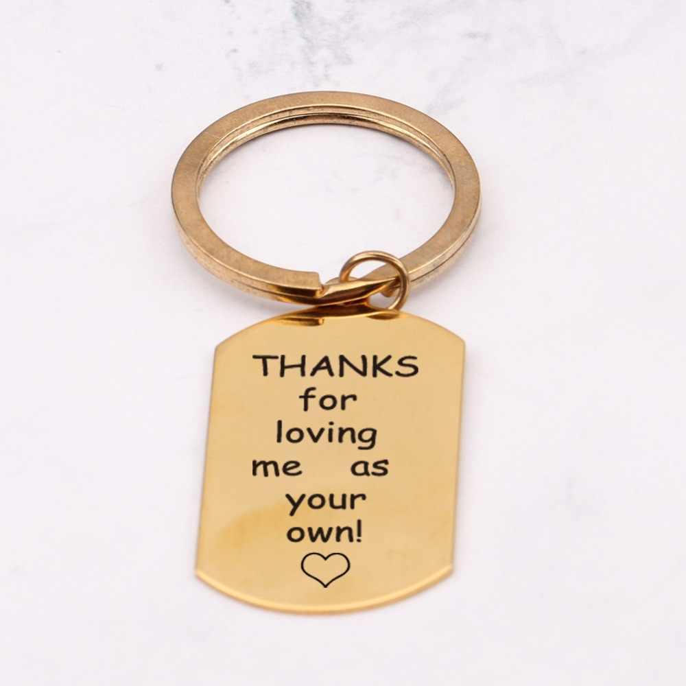 Лазерная гравировка спасибо за то, что любили меня, как ваши собственные Брелки Подарки шагать папа Фостер брелок для ключей для папы держатель ключей ключ высокого качества бирка