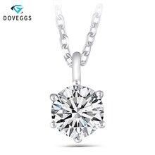 DovEggs Стерлинговое Серебро 925 пробы 1.2CT 7 мм цвет GH Moissanite Slide Solitaire ожерелье для женщин вечерние подарки