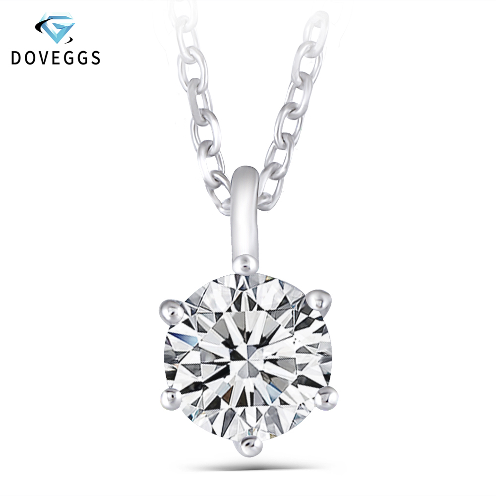 DovEggs Sterling Solid 925 Silver 1.2CT 7MM GH Color Moissanite Slide Solitaire Pendant Necklace for Women Party Gift-in Necklaces from Jewelry & Accessories    1