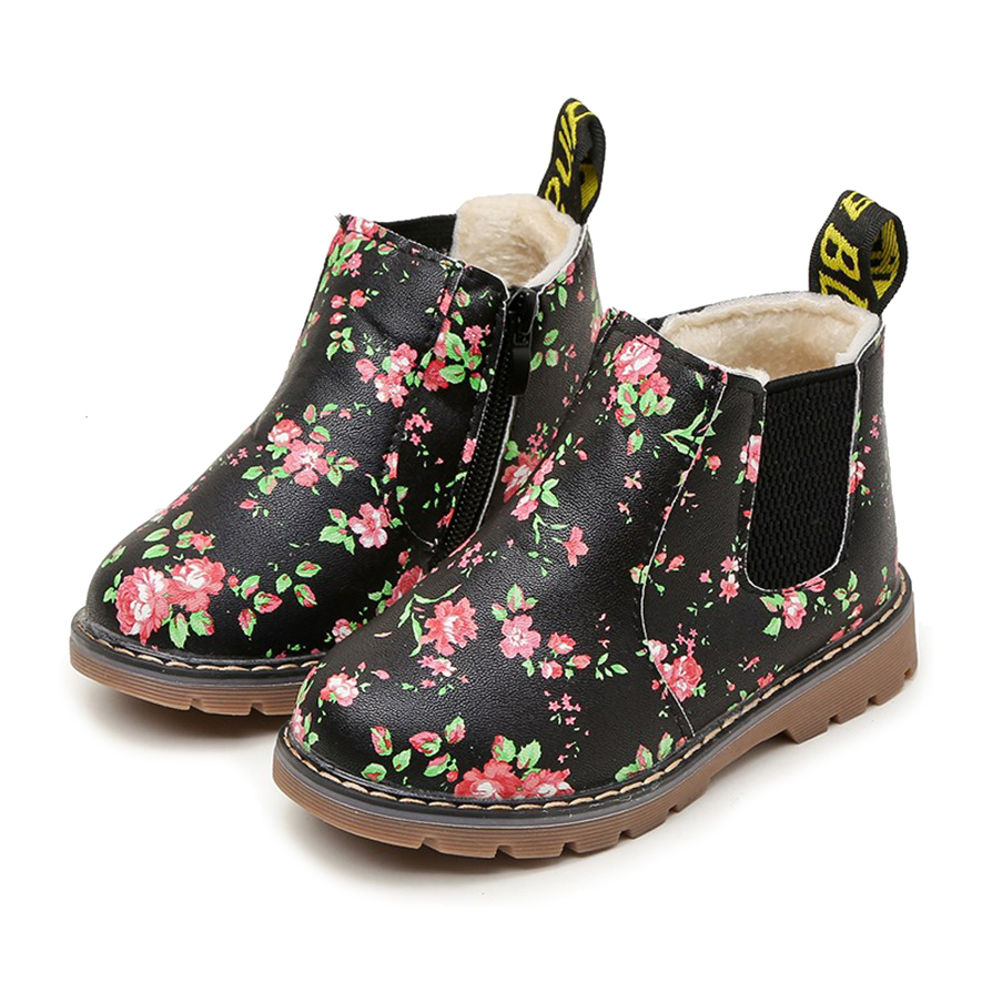 COZULMA Kids Ankle Boots Girls Boys Floral Flower Print Chelsea Boots Children Martin Boots Baby Toddler Shoes Size 21-36