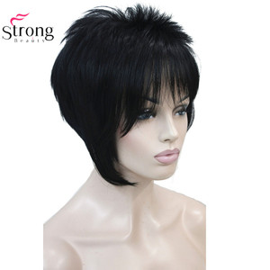 Image 4 - StrongBeauty Light Auburn with Highlights Inclined Bangs Short Straight Synthetic Hair Wig For Girl