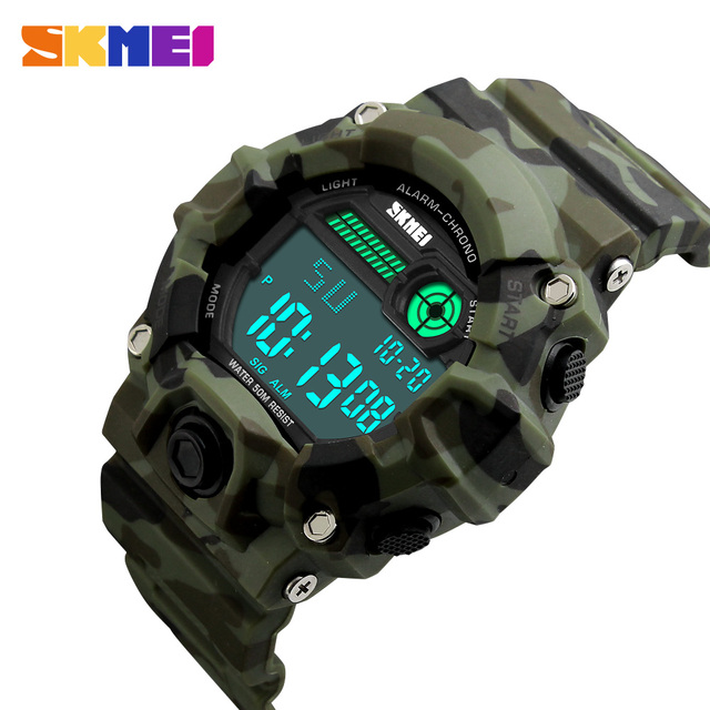 SKMEI S Shock Watch Men Outdoor Army Camouflage Military Watch Digital Watch LED Display Fashion Male Big Dial Sport Watch Men