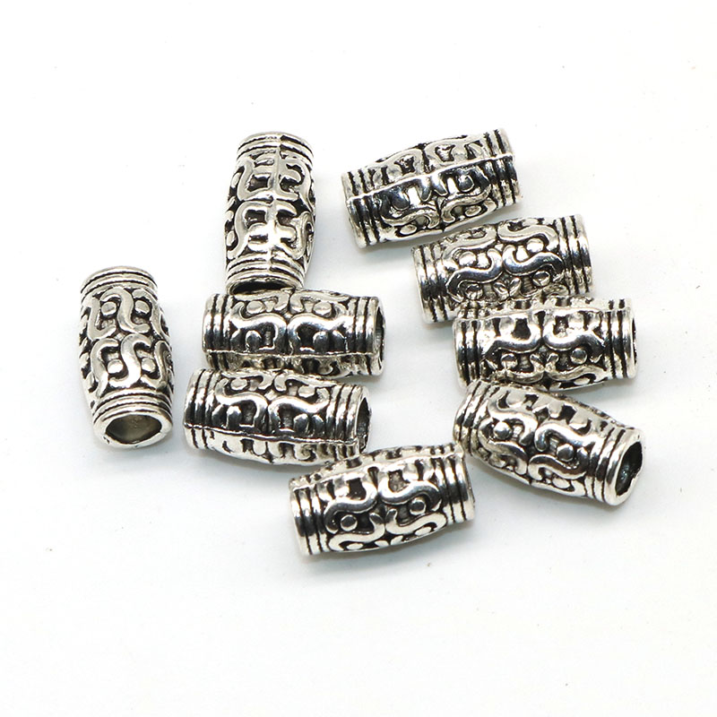 50 Silver Plated Metal Beads 6MM LARGE HOLE