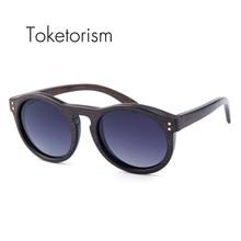 Toketorism Handgefertigten holz sonnenbrille polarisierte klassische runde sonnenbrille vintage für männer und frauen 6103