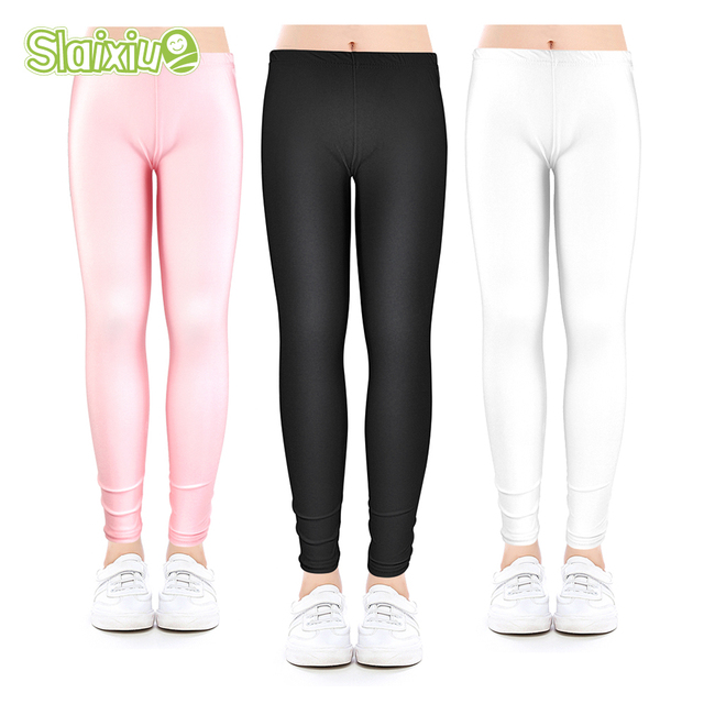 2231887573918f Autumn Elasticity Nylon Girls leggings Kids Ankle length Leggings Children  Girls Luster Pencil Pants Leggings Baby girl clothes