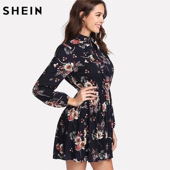 SHEIN Autumn Floral Women Dresses Multicolor Elegant Long Sleeve High Waist A Line Chic Dress Ladies Tie Neck Dress 1