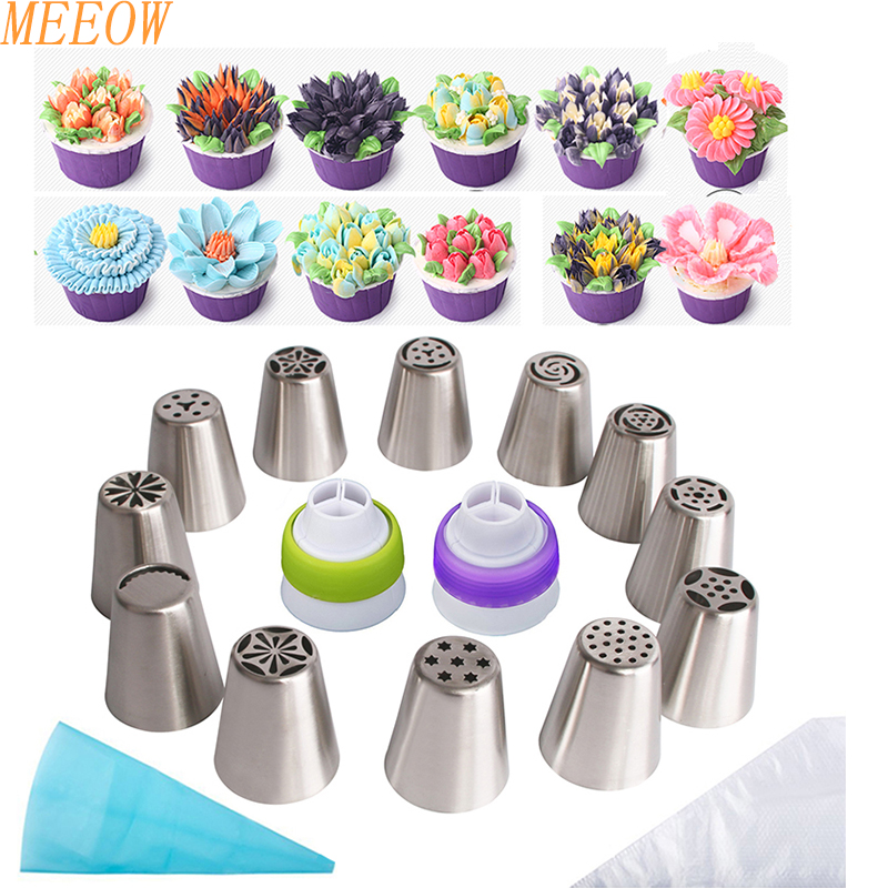 MEEOW 12pcs/set <font><b>Bakeware</b></font> Set Nozzle Cupcake Decor Russia Nozzles Icing Piping Tips Leaf Tulip Decorating Colorful Flower Design