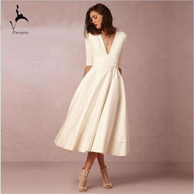 Vintage Style Tea Length Short Wedding Dress With Pockets Half ...