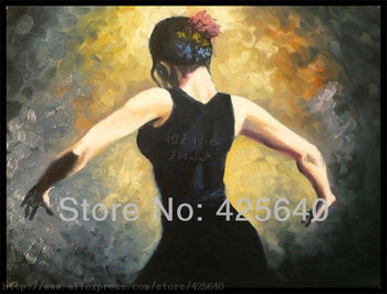 Spanish Flamenco Dancer painting  latina woman Oil painting on canvas hight Quality Hand-painted Painting latina Pround Girl