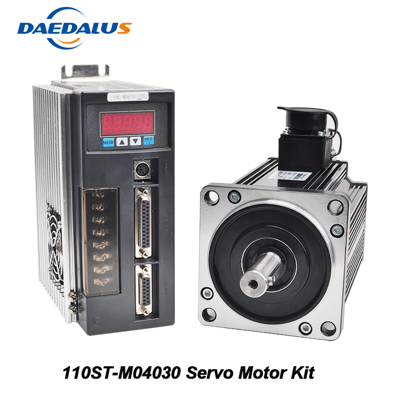 AC Servo Motor Kit 110ST-M04030 220V Servo Motor 1.2KW 3000RPM Single-Phase Drive Matched Motor Drive With Encoder Cable communication cable for servo drive mr cpcatcbl3m cable mr j2s a