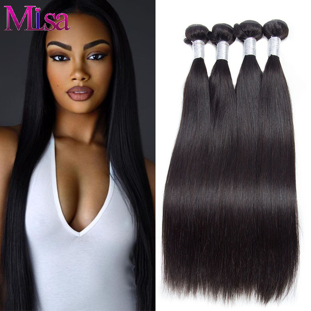 Peruvian Virgin Hair Extension 4 Bundles Straight Hair Weave