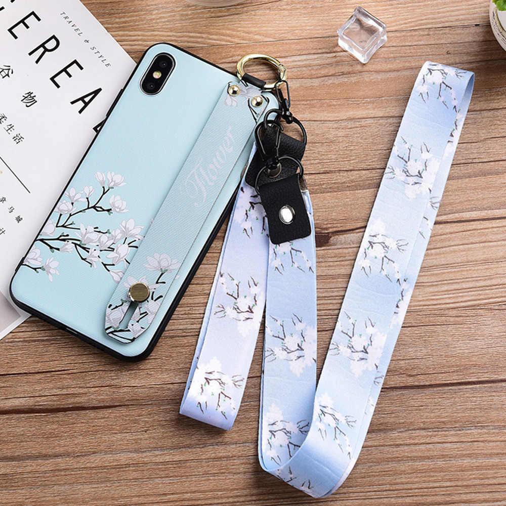 Роскошный Золотой фольгированный сверкающий чехол для телефона для Apple iPhone 7 Plus силиконовый браслет чехол для iPhone X XS XR XS Max 6 S 7 8 шейный ремешок
