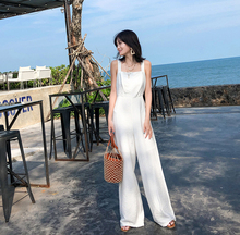 Spring and summer new style Slim high waist wide leg jumpsuit Beach holiday beach jumpsuit White open back waistline jumpsuit