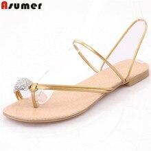 Asumer/со стразами sumemr обувь Мода контракт женские босоножки из искусственной кожи женская обувь, 2 цвета Большие размеры 34-43
