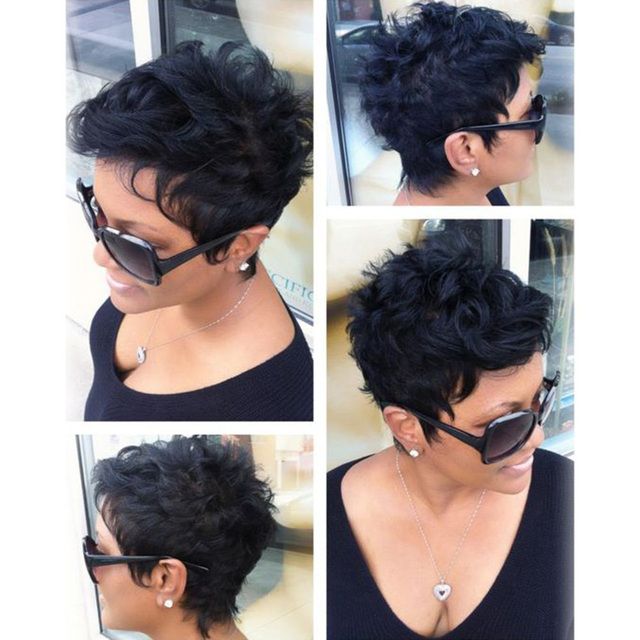 b3920e7e12b317 Short Wavy wig natural hair For Women Short Black wig Sassy Pixie cut  synthetic wig Sexy Boy cut wig Perruque cheveux synthetic