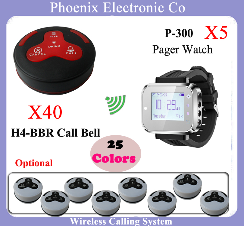 pager system for desk hotel counter restaurant wireless waiter calling system With Bell Button and Watch receiver K-300plus 200m wireless restaurant calling waiter system pager for hotel 1 watch 5 buttons