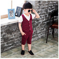 2016 New Arrival Boys Summer Clothes Fashion Formal Dot Vest Coat+Pant Lovely Boys 2Pcs Suit Toddler Children Boy Clothing Set