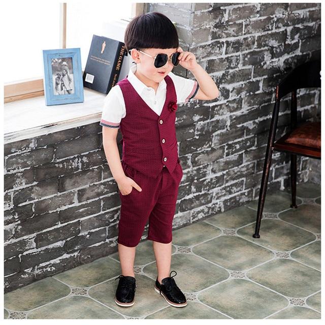 2016 New Arrival Boys Summer Clothes Fashion Formal Dot Vest Coat+Pant Lovely Boys 2Pcs Suit Toddler Children Boy Clothing Set