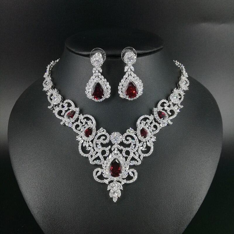 все цены на 2018 new fashion retro palace elegant V red zircon necklace earring set wedding bride banquet dress formal jewelry free shipping