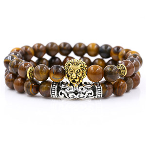 Image 3 - 2Pcs/Set Gold Silver Color Lion Charm Tiger Eye Lava Stone Prayer Beads Buddha Bracelet Set for Women Mens Pulseras Masculina