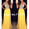 W91527 Sexy See Through A-line Long Prom Dresses Yellow 2017 V-Neck Sleeveless 2017 Chiffon Crystal Party Dresses Formal Gowns