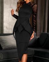 Women Mesh Sleeve Peplum Irregular Formal Dress Office Lady Elegant Ruffles Long Sleeve Midi Party Dresses Vestidos
