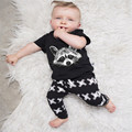 hot selling baby boy clothing sets cute cartoon animal pattern t-shirt and print pants 2017 newborn cotton clothing