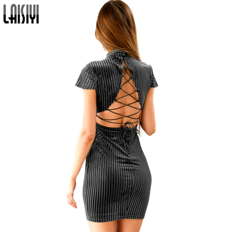 LAISIYI Chinese Style Elegant Bodycon Dress Autumn Short Sleeve Backless  Sexy Lace Up Velvet Dresses Women Clothing ASDR20386-in Dresses from Women s  ... b21936ef3bdd