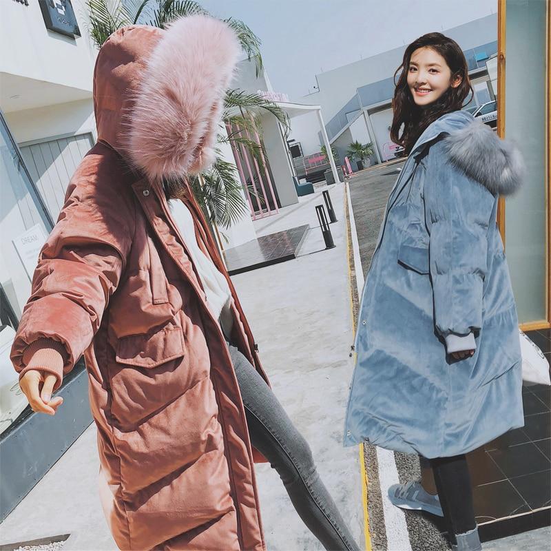 Anti Season Gold Velvet Cotton Dress 2018 Women's Winter Wear New Korean Version Medium Length Thicker Cotton Jacket Large Hair