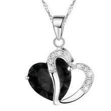FREE SHIPPING !! Fashion Heart Pendant Necklace Crystal jewelry JKP1027