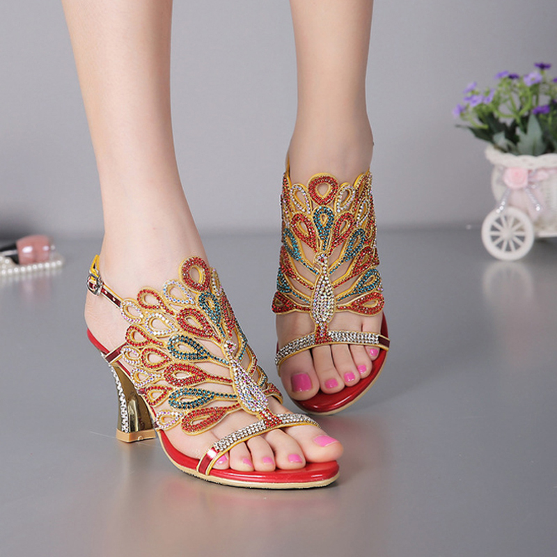 Red Black Color Women Banquet Prom Party Shoes Summer Rhinestone Sandals Open Toe Chunky Heel Strappy Wedding Shoes for Bride lttl bohemia print floral chunky heel sandalias female blue red prom wedding shoes woman ankle strap sequins rhinestone sandals