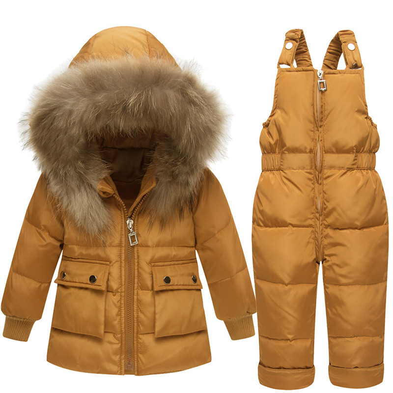 Russia Winter -30 Degree Snowsuit White Duck Down Jacket Boys Overalls Warm Jackets Girls Suits Coat+Bib Pants For 1-3 Years