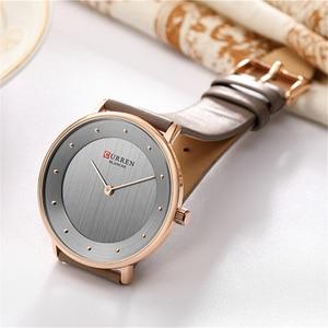 Image 2 - Beautiful Womens Quartz Watches Slim Fashion Leather Ladies Wrist Watch Reloj Mujer CURREN Hot Female Clock Gifts For Women