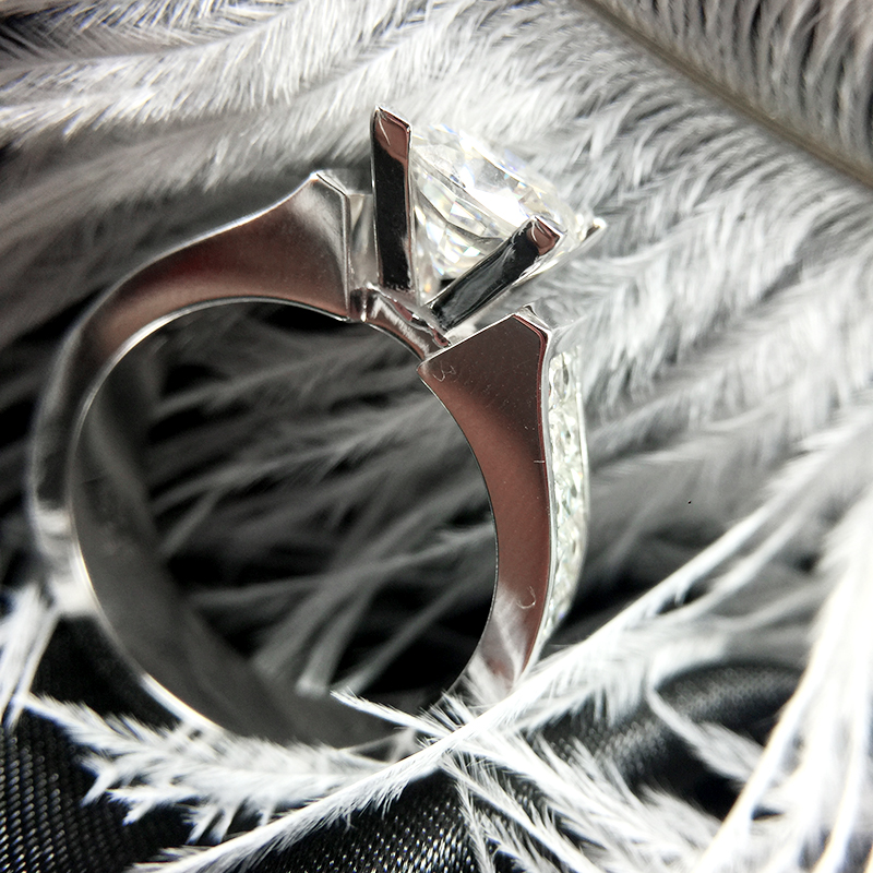 2 캐럿 7.5mm 쿠션 컷 하이 컬러 프린세스 모이 사 나이트 약혼 & 웨딩 랩 다이아몬드 링 더블 헤일로 링 실버 또는 10 k-에서반지부터 쥬얼리 및 액세서리 의  그룹 3