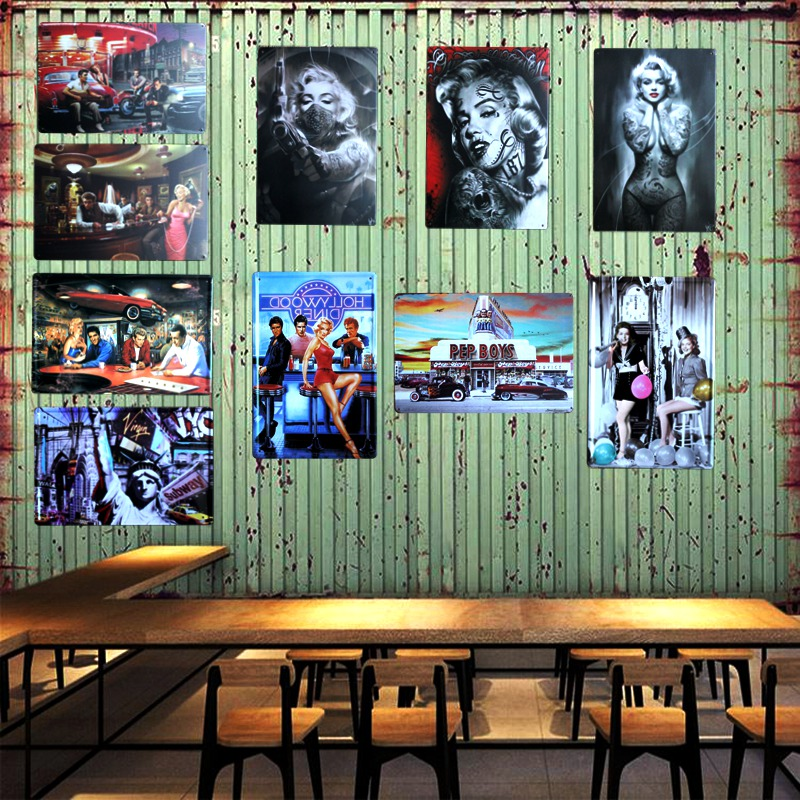 Marilyn Monroe Tin Metal Signs Living Room Art Wall Craft Decor Iron Poster Cuadros 30X20CM A 6103 in Plaques Signs from Home Garden