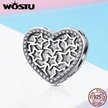 5e1fd4d3b72c WOSTU 100% Real de corazón de plata de ley 925 estrella encantos del grano  Fit Original encanto pulsera brazalete DIY joyería de las mujeres de moda  FIC1052