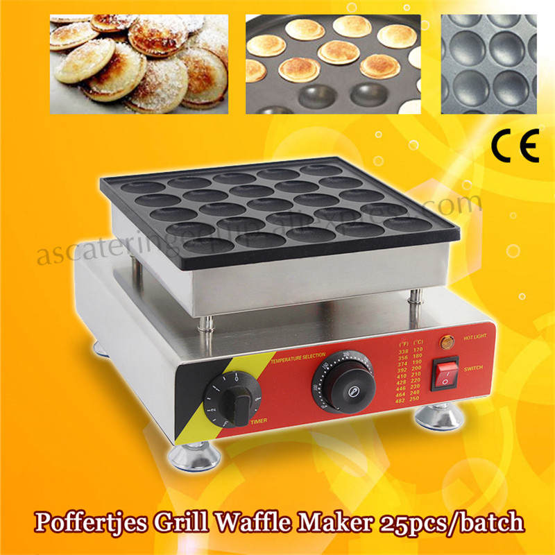 Stainless Steel Electric Poffertjes Waffle Maker Non-stick Pan Poffertjes Grill Machine 25pcs/Batch For Snack Bar Restaurants double pans small pancake machine poffertjes machine with non stick pan poffertjes grill waffle maker with 50 pcs moulds