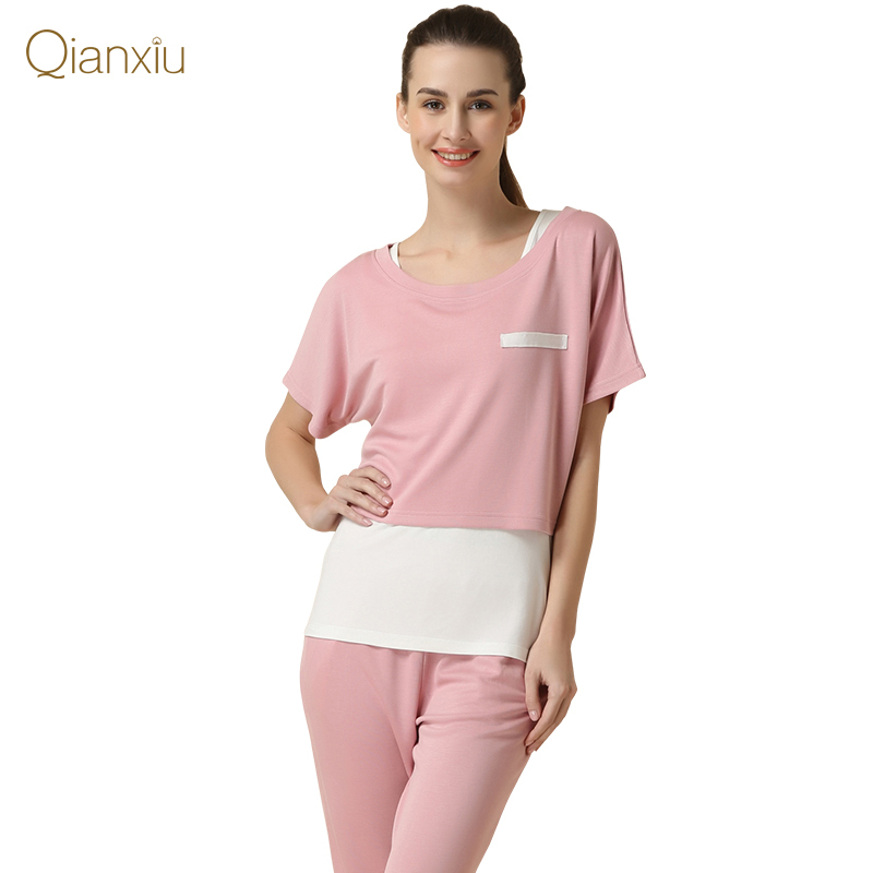 Summer Home Pijamas Women Casual Pajama Sets Women Casual Three-Piece Sets Ladies T Shirt +Vest +Half Pants Sleepwear Suit