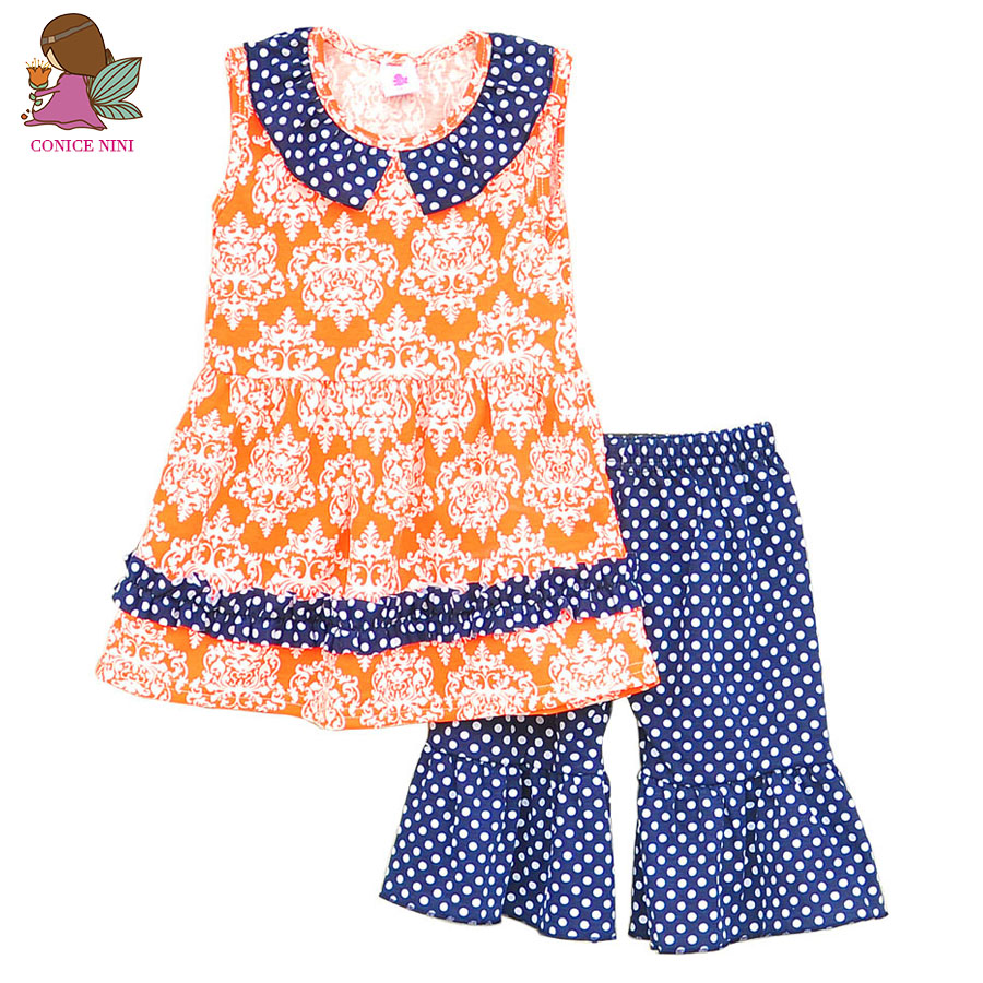 2017 Brand New Children Girl Clothing Spring Summer Printing Sleeveless Blouse &Dot Designed Pants Kids Clothes Sets S069
