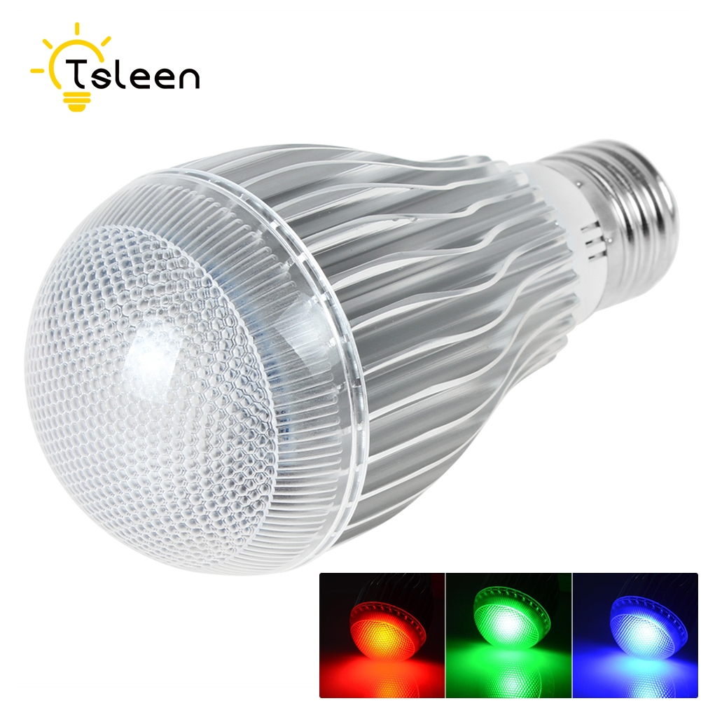Tsleen E14 E27 Led Dimmable RGBW Led Bulbs 5W 10W 85-265V Colorful RGB Led Lamp Chandeliers Led Light + 24 Key Remote Controller zhishunjia ip66 10w 900lm led 7 color project light w remote controller grey black 85 265v