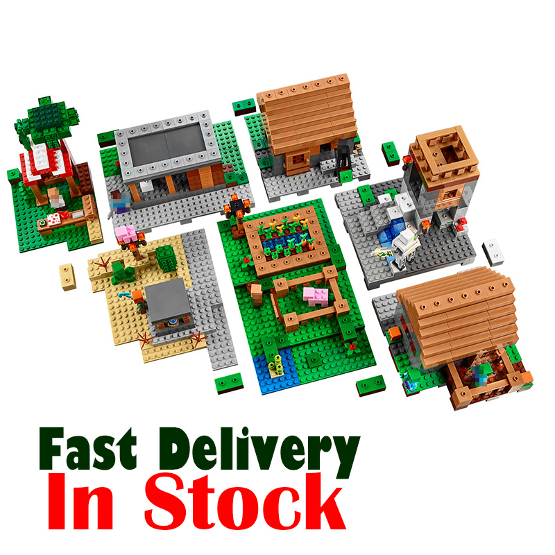 Minecraft Village Lepin 1600+pcs ENDERMAN Zombie Model Building Blocks Set compatible with 21128 My World DIY Toys For Children 400 pcs micro my world building blocks diy nether bricks blocks enlightentoys for kids compatible legoingly minecraft village